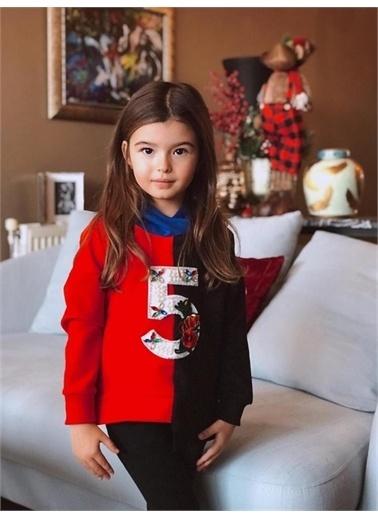 Hilal Akıncı Kids Kiz Çocuk Renklı Parçali Sweatshirt Taytli Ikılı Takim Kırmızı